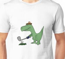 Cool Funky Green T-Rex Dinosaur Playing Golf Unisex T-Shirt