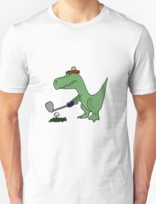 Cool Funky Green T-Rex Dinosaur Playing Golf T-Shirt