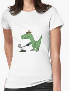 Cool Funky Green T-Rex Dinosaur Playing Golf Womens Fitted T-Shirt