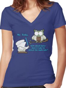 The galaxy may never know. Women's Fitted V-Neck T-Shirt