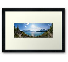 Panoramic of lake in Icefields Parkway, Banff, Canada Framed Print