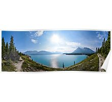 Panoramic of lake in Icefields Parkway, Banff, Canada Poster