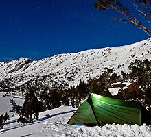 Camping under a clear night on the snow by andychiz