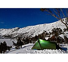 Camping under a clear night on the snow Photographic Print