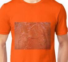 Thick and uneven layer of red paint on a wall closeup Unisex T-Shirt