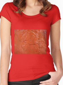 Thick and uneven layer of red paint Women's Fitted Scoop T-Shirt