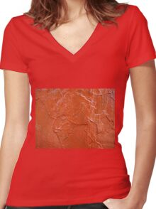 Thick and uneven layer of red paint Women's Fitted V-Neck T-Shirt