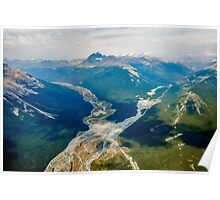Aerial view of the Canadian Rockies in Banff Poster