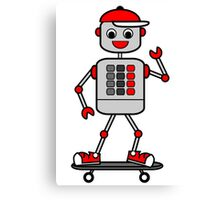 Cartoon Robot Boy on Skateboard Canvas Print