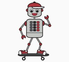 Cartoon Robot Boy on Skateboard Kids Tee