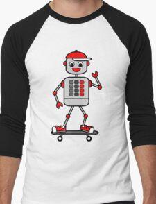 Cartoon Robot Boy on Skateboard Men's Baseball ¾ T-Shirt