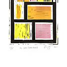my space yellow series linoleum print  by Veera Pfaffli