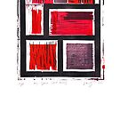 my space red series linoleum print by Veera Pfaffli