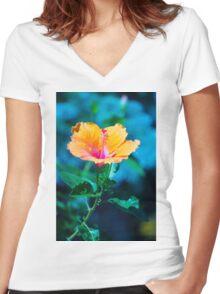 Orange flower Women's Fitted V-Neck T-Shirt