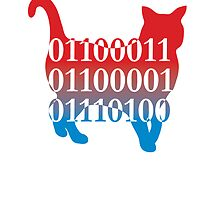 cat silhouette image vector with binary code text by Veera Pfaffli