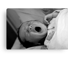 New born baby - sleepy Canvas Print