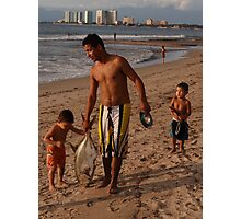 Little fishermen - kids with their father Photographic Print