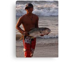 Another successful fisherman - proud and happy Canvas Print
