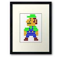 8-bit brick Luigi Framed Print
