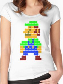 8-bit brick Luigi Women's Fitted Scoop T-Shirt