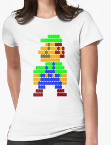 8-bit brick Luigi Womens Fitted T-Shirt