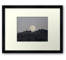 Silhouettes of a Harvest Moon Framed Print