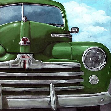 Vintage 50&#x27;s Green Ford - oil painting by LindaAppleArt
