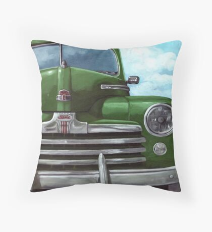 Vintage 50's Green Ford - oil painting Throw Pillow