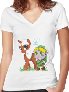 The Legend of Zeldestia (no text version) Women's Fitted V-Neck T-Shirt