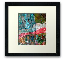 aqua red landscape Framed Print