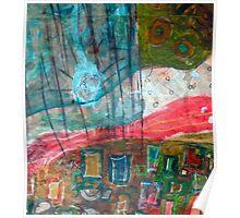 aqua red landscape Poster