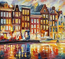 EVENING IN AMSTERDAM - LEONID AFREMOV by Leonid  Afremov