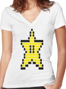 Mario Star Item Women's Fitted V-Neck T-Shirt