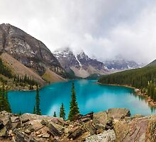 Panoramic of Moraine Lake in the Canadian Rockies by Luke Farmer