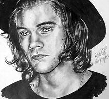 Harry Styles (Original Background) by beccajonesart