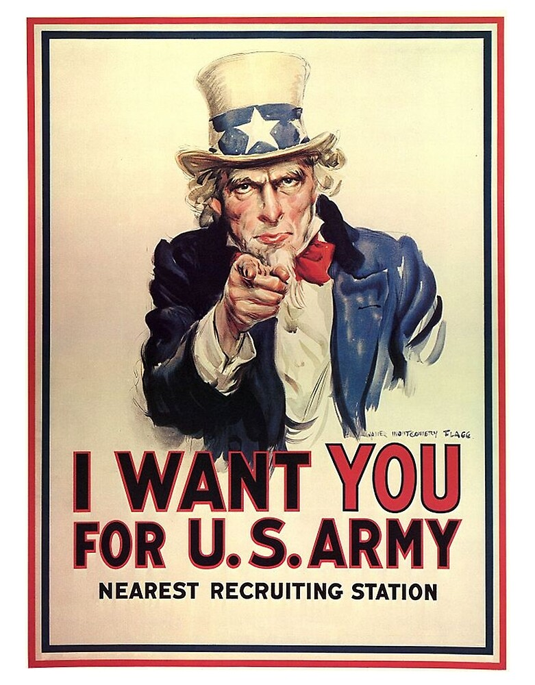 America, American, I Want You! Uncle Sam Wants You, USA, War, Recruitment Poster by TOM HILL - Designer