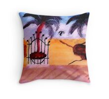 The Old tan Wall # 2, series, watercolor Throw Pillow