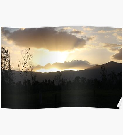 Rays of light in a sunset Poster