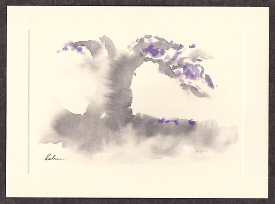 """Morning Mist""   Sumi e wash painting by Rebecca Rees"