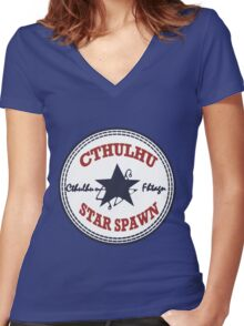 Cthulhu Star Spawn Women's Fitted V-Neck T-Shirt