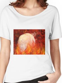 Flaming Crystal Skull Women's Relaxed Fit T-Shirt