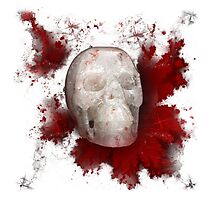 Crystal Skull With Red On Transparent Background Photographic Print