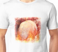 Flaming Crystal Skull On Transparent Background Unisex T-Shirt