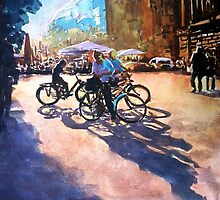 Bicycle shadows on the sunny street by ZlatkoMusicArt