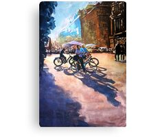 Bicycle shadows on the sunny street Canvas Print