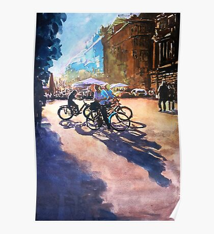 Bicycle shadows on the sunny street Poster