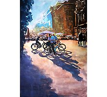 Bicycle shadows on the sunny street Photographic Print