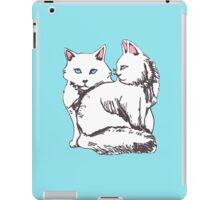 White Maine Coon Cats with Blue iPad Case/Skin