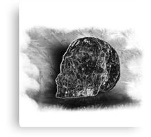 Black And White Skull On Transparent Background Canvas Print