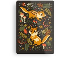 Two Cute Chipmunks in Autumn Background Metal Print